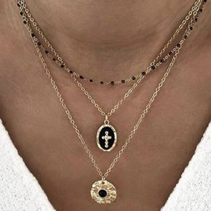 Gold Rosary Cross Pendant Layering Necklace